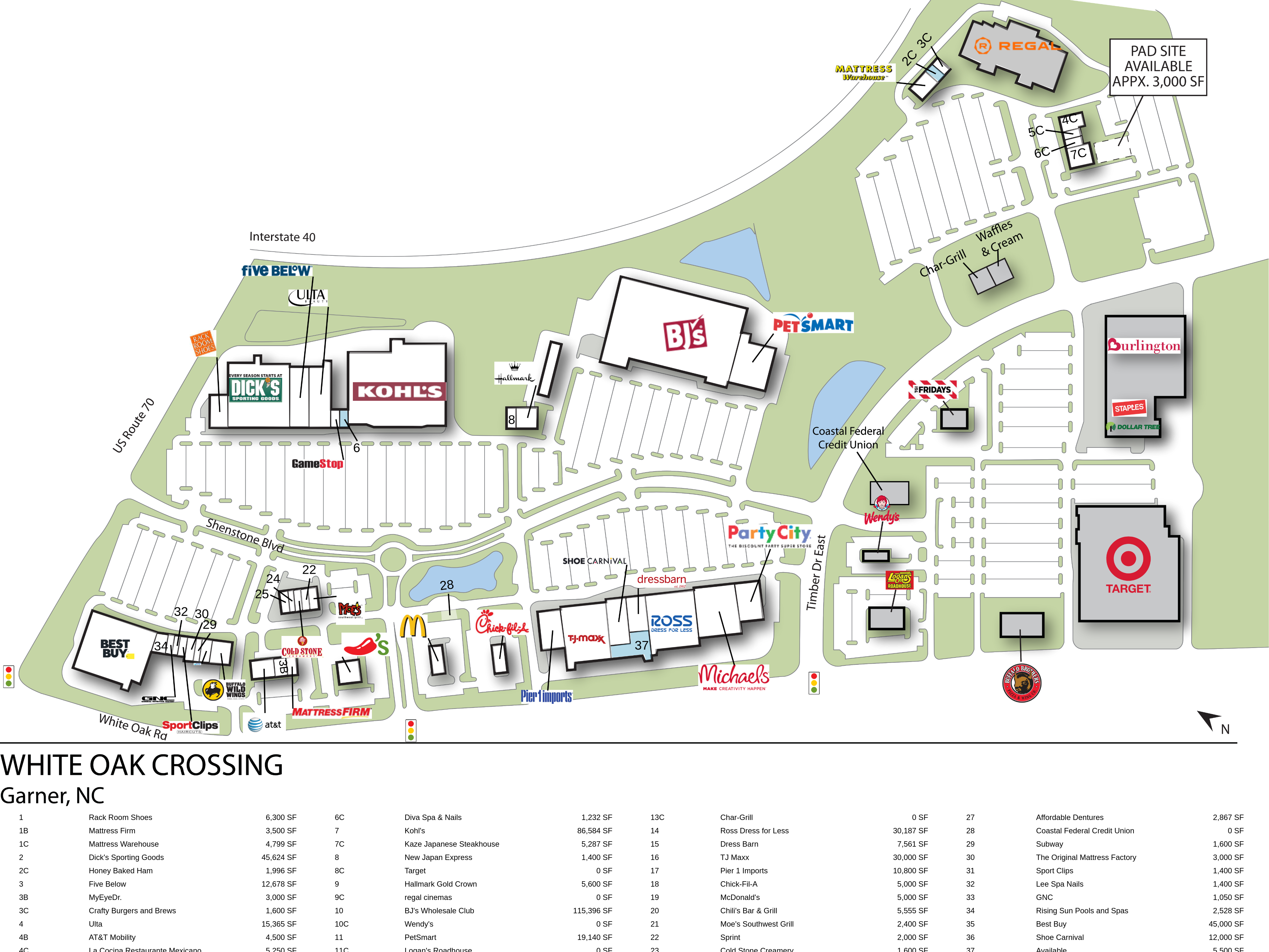garner nc white oak crossing retail space inventrust static map legend
